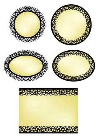 vintage patterns: vector frame set