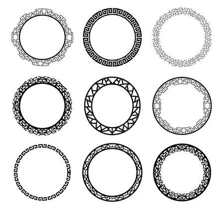 vintage border: vector circle frame set