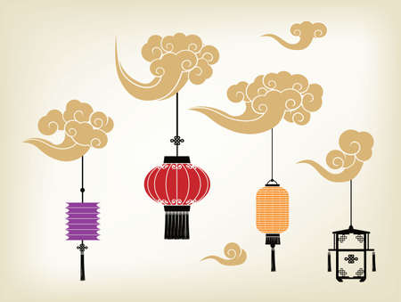 japanese culture: Chinese lantern and cloud