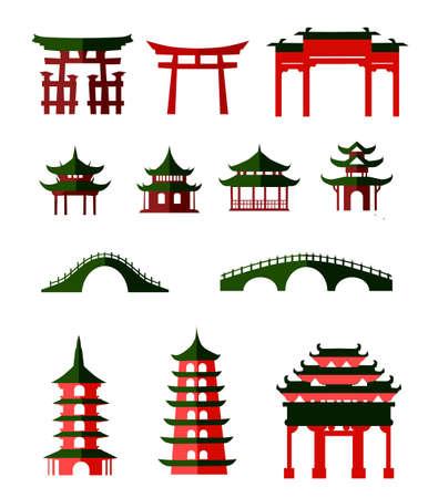 Pavillons traditionnels chinois Vecteurs