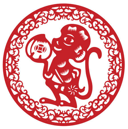 cut paper: paper cut monkey Illustration