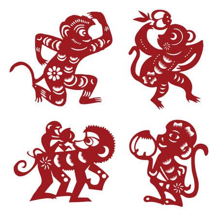 nouvel an: singe papier découpé Illustration