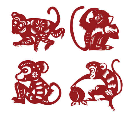 chinese astrology: paper cut monkey Illustration