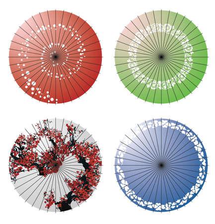 flores chinas: Paraguas japonés  Vectores