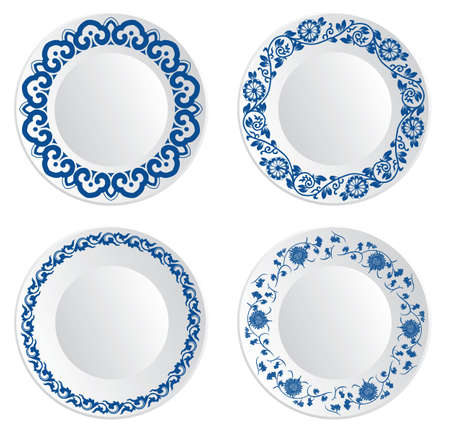 empty plate: Chinese porcelain plate Illustration