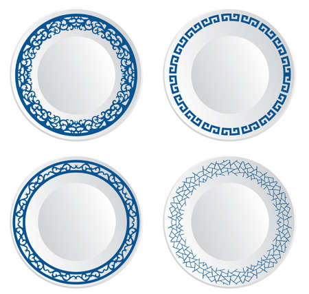 Chinese porcelain plate Stock Illustratie