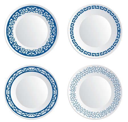 ceramica: Plato de porcelana china Vectores