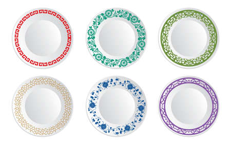 porcelain plate: Chinese porcelain plate Illustration