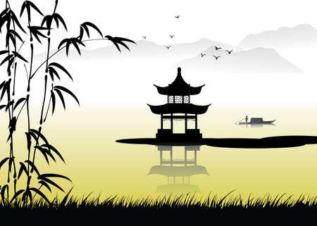 Pintura de paisaje chino Foto de archivo - 49190159