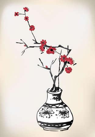 arbol de cerezo: cerezo flor de la pintura de tinta olla