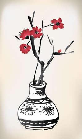 cherries: cherry blossom pot ink painting