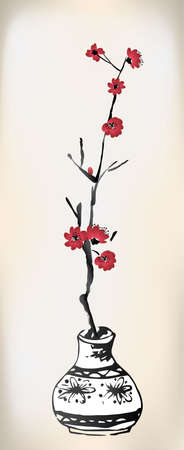 cherry blossom: cherry blossom pot ink painting