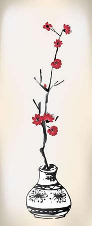 fleur cerisier: Cherry Blossom pot peinture à l'encre Illustration