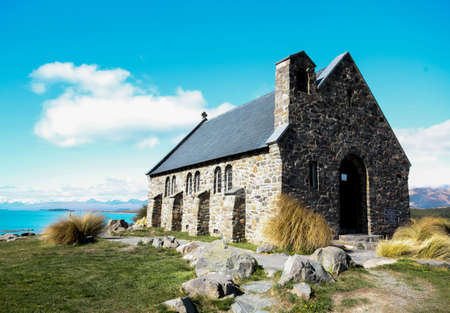 good shepherd: Exterior view of a church with nature scenery Stock Photo
