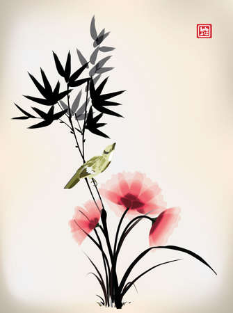 Chinese ink style flower bird drawing Stock Illustratie