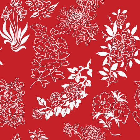 botanical gardens: seamless flower drawings background