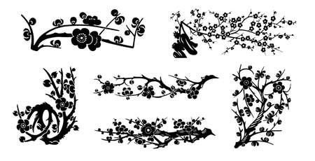 black tree: vector cherry flowers collection