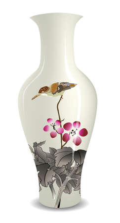 vase with Chinese ink style flower bird drawing