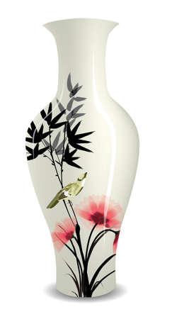 Vase mit chinesischen Blume Vogel Zeichnung Tinte Stil Vektorgrafik