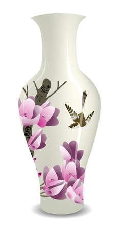 oiseau dessin: vase avec le style de l'encre de Chine dessin fleur oiseau