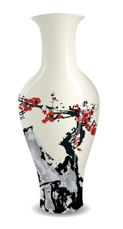 vase with ink style chinese traditional drawings