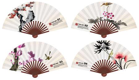 chinese fan: chinese fan art nature elements
