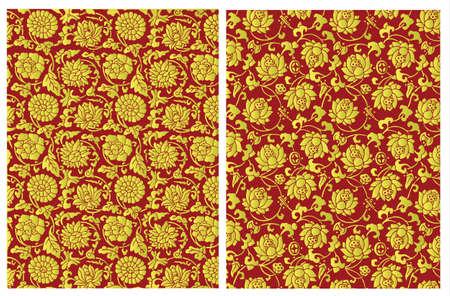 황금 중국어 꽃 패턴 일러스트