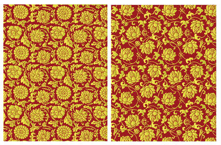 tissu or: Or motif floral chinois Illustration