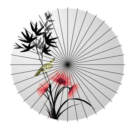 flower blooming: painted japanese paper umbrella