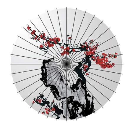 geschilderd japans papier paraplu