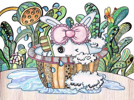 lapin prise de bain - dessin d'enfant