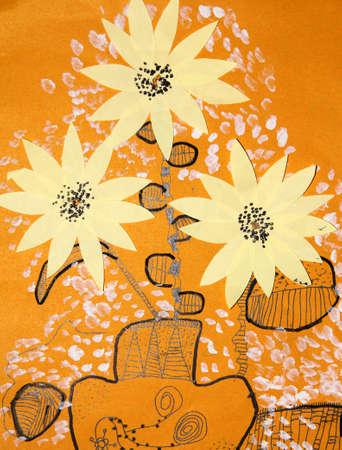 kid drawing: kids drawing - flower Stock Photo