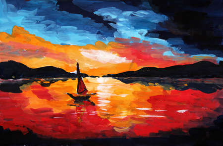 lake sunset: oil painting sunset Stock Photo