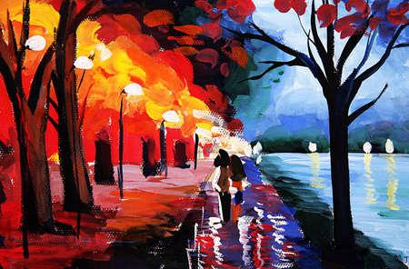 oil painting road by lake 版權商用圖片