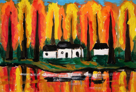 lake house: oil painting - river house forrest