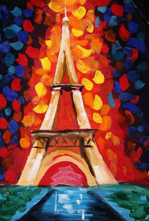 torres petroleras: pintura al óleo -Torre Eiffel Foto de archivo
