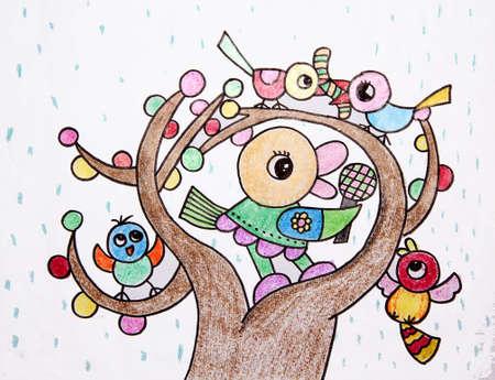 oiseau dessin: dessin d'enfant - le chant des oiseaux dans l'arbre