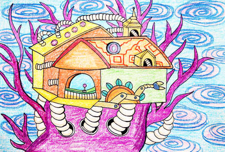 tree house: child drawing - tree house