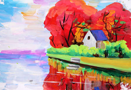 rural house: oil painting river house