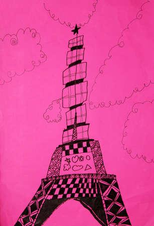 bocetos de personas: El dibujo de niño - Torre Eiffel
