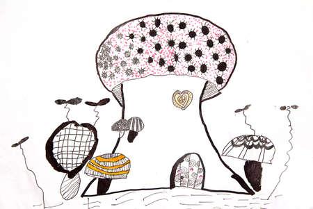 mushroom house: kids drawing - mushroom house Stock Photo