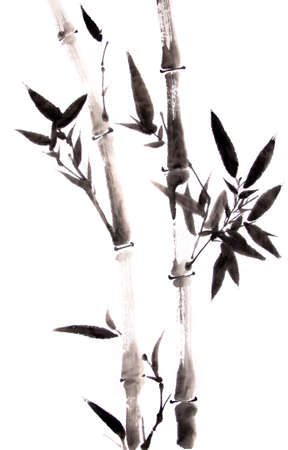 bambou: peinture à l'encre de bambou