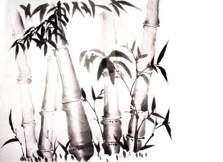 bamboe inkt schilderij hand getekende Stockfoto
