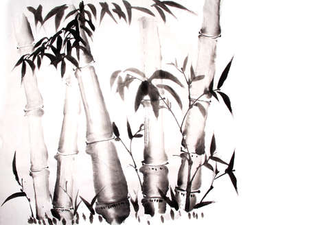 ink painting: bamboo ink painting hand drawn