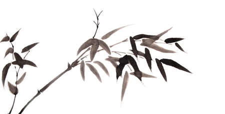 대나무 수묵화 손으로 그린