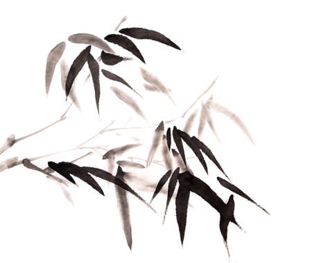 ink: bamboo ink painting hand drawn