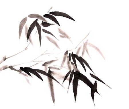 disegnato pittura a inchiostro di bambù mano Archivio Fotografico