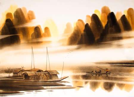 Chinese landscape watercolor painting Stok Fotoğraf - 55665177