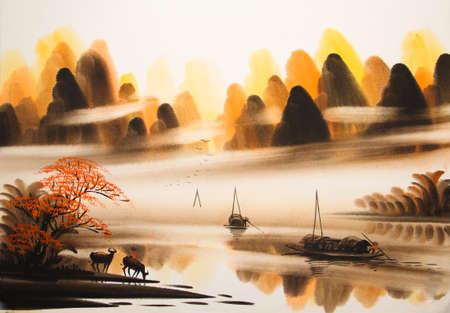 중국 풍경 수채화 그림
