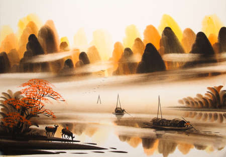 Chinese landschap aquarel Stockfoto - 55665192